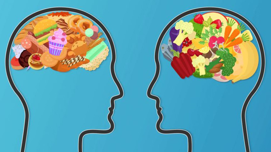 mental health illustration of heads with foods
